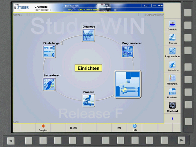 StuderWIN operating system front screen